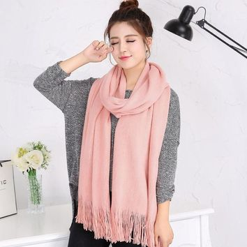 DCCKJG2 Autumn winter Luxury Brand Scarf Female Best Quality Wool Cashmere Scarf Tassels Women Thick Warm  Long Wrap