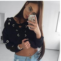 Fashion Solid Color Loose Pullover Bandage Knitwear Coat