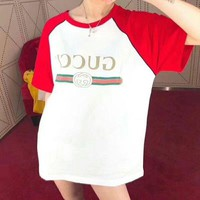 """GUCCI"" Trending Women Men Contrast Color Short Sleeve T-Shirt Top I"
