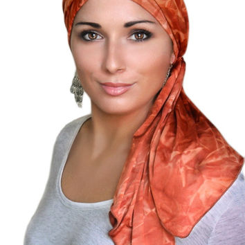 Rust Marble Jersey Turban, Head Wrap, Alopecia Scarf, Chemo Hat & Scarf Set