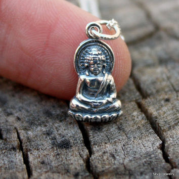 Silver Buddha Necklace: Little Buddha Charm . Sterling Silver . Yoga Jewelry . Hand-Stamped Gift Box Included
