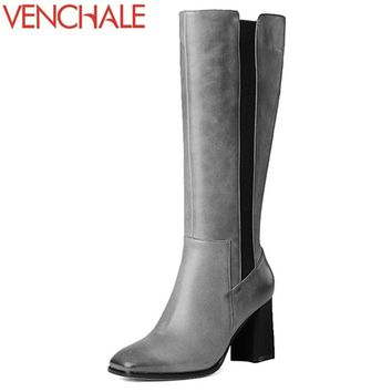 VENCHALE knee-high boots romantic trend concise classical square toe genuine leather side zipper modern women boots in winter