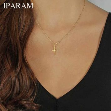 IPARAM Summer Gold Chain Cross Necklace Small Gold Cross Religious Jewelry