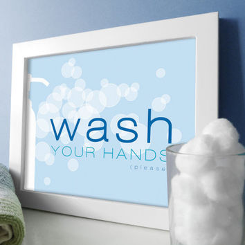 Wash Your Hands Bathroom Art - Bathroom Art - Bath Wall Art - Sky Blue Bathrom Decor - Bathroom Prints - Soap Bubbles Design - Bath Prints