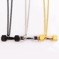 Dumbbell Necklace Pendant Men and Women Fashion Weights Jewelry