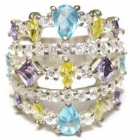 Sterling Multi Stone CZ Cluster Statement Ring Size 7