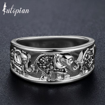 Iutopian Brand Cute Little Elephant Vintage Retro Unqiue Ring Anels For Women Anti Allergy Environmental Metal #J1923