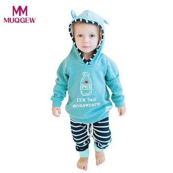 Fashion Autumn Winter Newborn Infant Baby Boy Girl Clothes Set Striped Hooded Sweatshirt Tops+Long Pants Outfits Vestidos