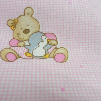 Cotton fabric 46 x 100 in Organic Fabric Bear cotton fabric Perfect for baby bedding. Children Baby fabric