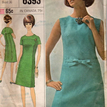 Mad Men Style Retro Mod 60s Dress Simplicity Sewing Pattern High Yoke Short Sleeve Mini A-line Bust 36