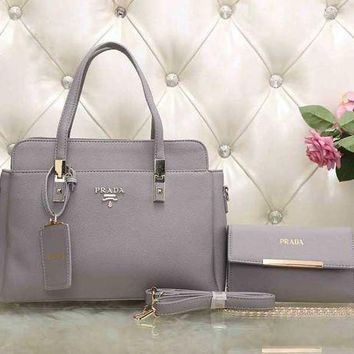 CREY9N PRADA Women Leather Tote Handbag Shoulder Bag