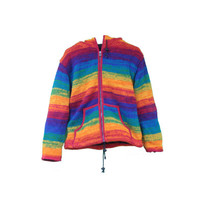 Vintage Rainbow Hooded Ethnic Sweater Jacket with front Hand Pouch MADE in NEPAL