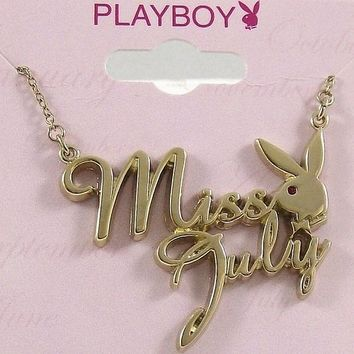 Playboy Necklace MISS JULY Pendant Gold Plated Playmate of the Month Collection