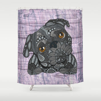 Black Pug (purple) Shower Curtain by ArtLovePassion