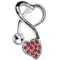Top Mount Red Gem Swirling Dual Hearts Belly Ring | Body Candy Body Jewelry