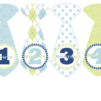 Baby Month Stickers Boy Monthly Onesuit Stickers Blue Argyle Preppy Tie Stickers Monthly Onesuit Stickers Baby Shower Gift Photo Prop Bobby3