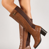 Soda Elastic Back Chunky Heel Knee High Riding Boot