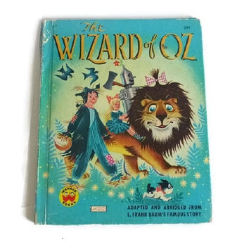 70's Wizard of Oz Story Book Colored Illustrations Vintage Land of Oz Childrens Classic 50's 70's Wonder Books Paper Ephemera
