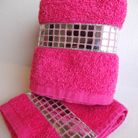 Silver Trim Hot pink towels, hot pink, custom towel, hand towels, august ave towels, bathroom decor, hot pink bathroom, rhinestone