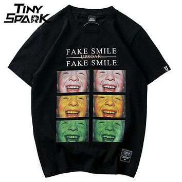 Kids Smiley Face Printed Short Sleeve Men Casual O-Neck Hip Hop T shirts Street wear Fashion Tops Tees
