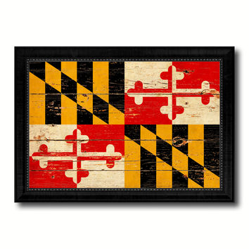 Maryland State Vintage Flag Canvas Print with Black Picture Frame Home Decor Man Cave Wall Art Collectible Decoration Artwork Gifts