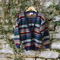 90s Multicolor Cardigan / Cosby Sweater Womens Large