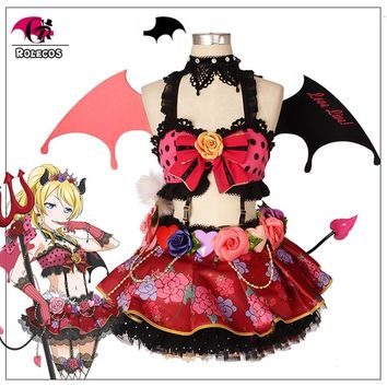 ROLECOS Lovelive Cosplay Costume Little Devil Love Live Cosplay All Characters Costume Kotori Honka Umi Nico Women Dress Cos