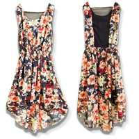 Bohemia Style Flowers Pattern Scoop Neck Asymmertric Hem Sleeveless Chiffon Dress For Women