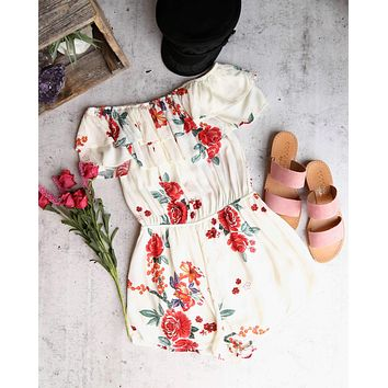 slow down - off the shoulder woven floral ruffled romper - beige