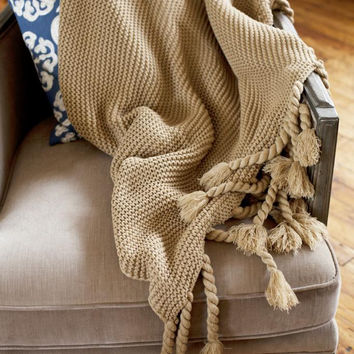 Europa Camel Sweater-knit Throw