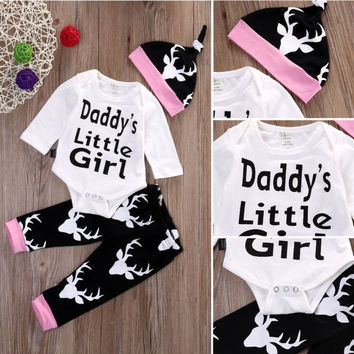 Newborn Baby Girls Little Girl Tops Romper Long Pants Hat Outfits Set Clothes Free Shipping