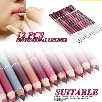 Professional Lipliner pencil Waterproof wooden blend Lip Liner Pencil 15CM 12 Colors Per Set Hot 2015 makeup lipstick tool
