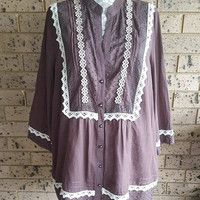 Plus size Chocolate Brown Cotton Button Through Blouse Top with 3/4 sleeves,  Feminine top, Hippie Top size 24