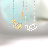 Honeycomb Beehive necklace in gold or silver, simple, everyday, nautical necklace