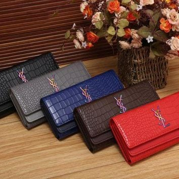PEAPNI YSL Women Fashion Multicolor Logo Shopping Leather Buckle Wallet Purse