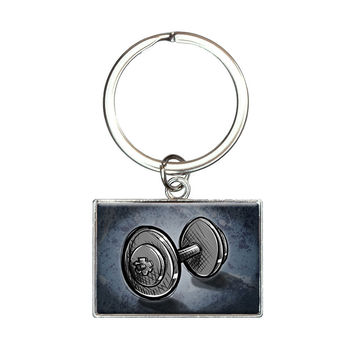 Weight Lifting Dumbbells Rectangle Keychain
