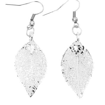 Real Leaf Hook Drop EARRINGS EVERGREEN Dipped in Silver Genuine Leaf