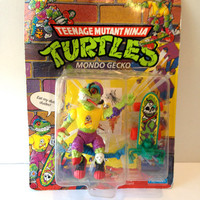 TMNT Mondo Gecko .. Vintage Ninja Turtles Sealed Mondo Gecko Action Figure .. Teenage Mutant Ninja Turtles Action Figure TMNT Action Figure