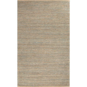 Jaipur Rugs Naturals Solid Pattern Taupe/Blue Jute and Rayon Area Rug HM17 (Rectangle)