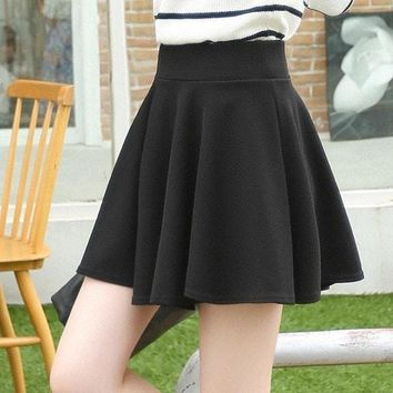 Fashion High Waist School Skirt Women's Pleated Skater Skirt Solid Color Mini Slim Uniform Saias Femininas