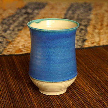 Bright blue vase, copper blue glaze, porcelain, handmade, unique ceramic gift