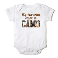 My Favorite Color is Camo Baby Boy Onesuit Bodysuit