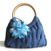 Knitted JUBBJUBB night blue color handmade handbag by PinKyJubb