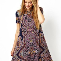 ASOS Swing Dress With Short Sleeves In Paisley Placement Print