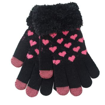 Beautiful cheap Heart Shape Warm Gloves winter women gloves luvas femininas para o inverno eldiven