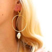 Dainty Shell Hoop Aloha Earrings
