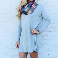 Time Well Wasted Light Heather Grey Long Sleeve Dress