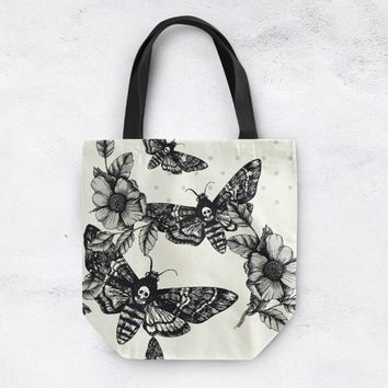 Death Moth Tote with beautiful Black and Grey Pattern on Cream Background, Skull Handbag, Skull Bag