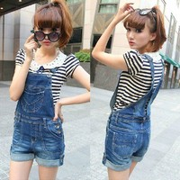 New Lady Denim Jeans Overalls Jumpsuit Suspenders Trousers 05-008