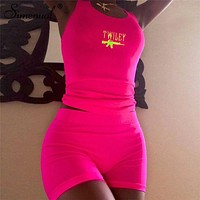 Simenual Letter Embroidery 2 Piece Set Women Casual Neon Color Tracksuits Summer Streetwear Crop Top And Shorts Sets Fashion New
